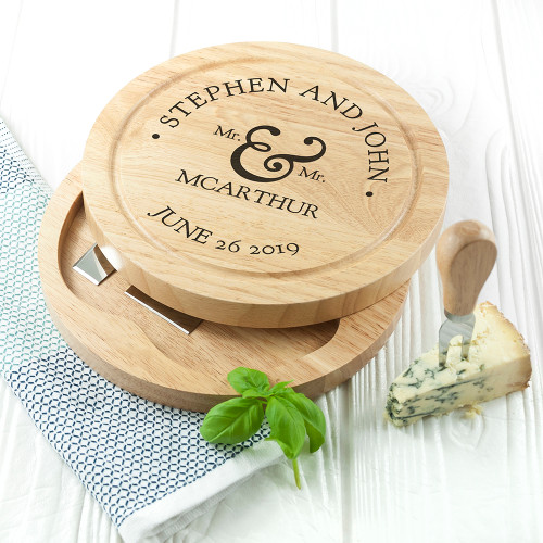 Personalised Mr & Mrs Cheese Board Set