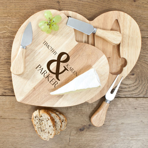 Wooden Heart Cheese Board Set