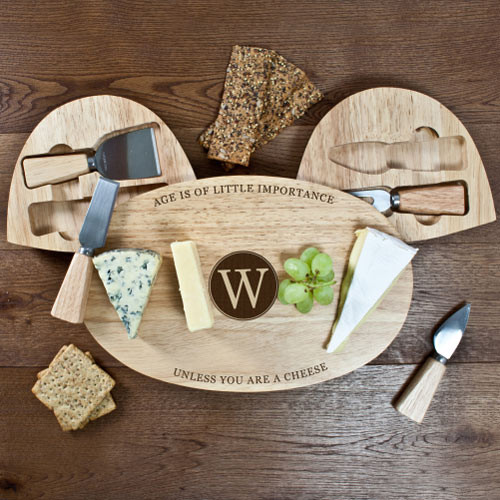 Personalised Oval Wooden Cheese Board Set with Initial Design