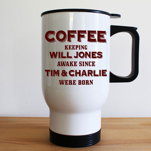 Personalised White Travel Mug for Dads