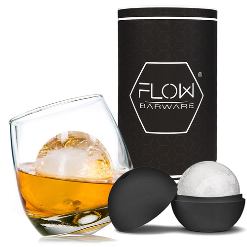 FLOW Barware Rocking Whiskey Glass & Ice Ball Gift Set