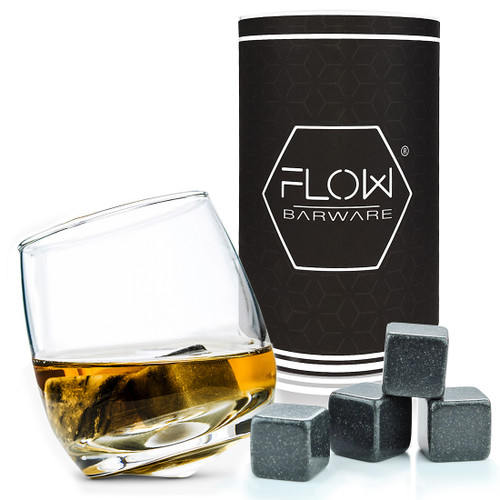 Rocking Whiskey Glass & Whiskey Stones Gift Set