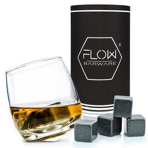 Rocking Whiskey Glass & Whiskey Stones Gift Set