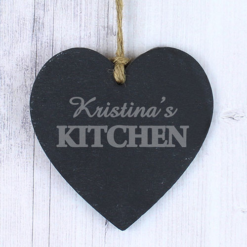Kitchen Slate Heart Engraved With Any Name