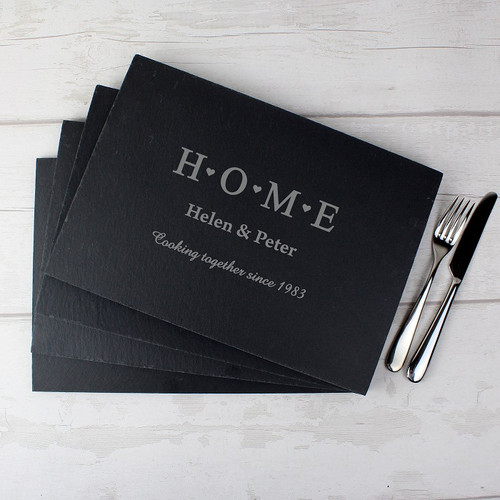 Set of 4 Home Design Slate Placemats