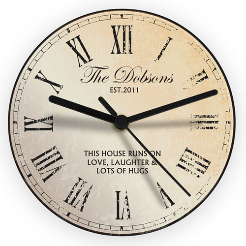 Personalised Kitchen Clock with Roman Numerals