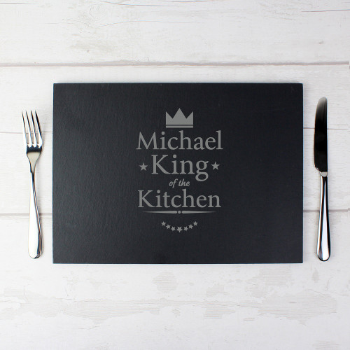 Slate Placemat for Him with King of the Kitchen Design