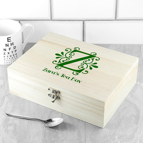 Personalised Wooden Tea Box with Tea Collection