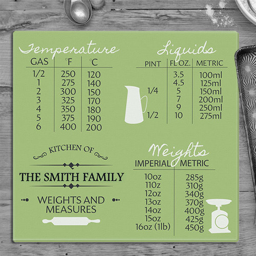 Personalised Conversion Chart Glass Chopping Board