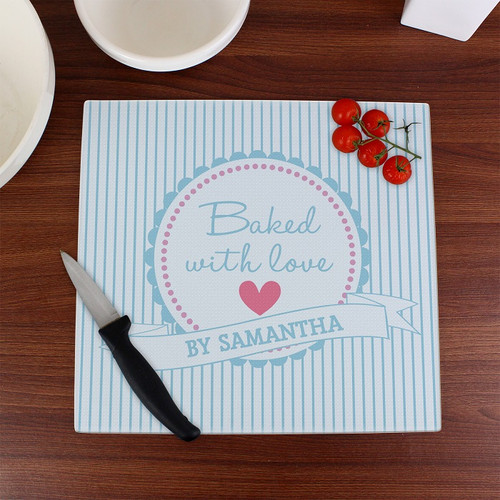 Personalised Glass Chopping Board Baked with Love Design