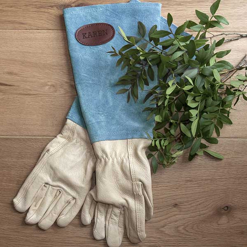 Personalised Blue Suede Gardening Gloves