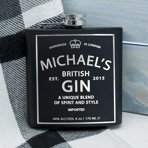 Personalised Gin Design Hip Flask