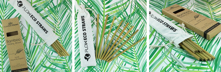 FLOW Barware bamboo drinking straws