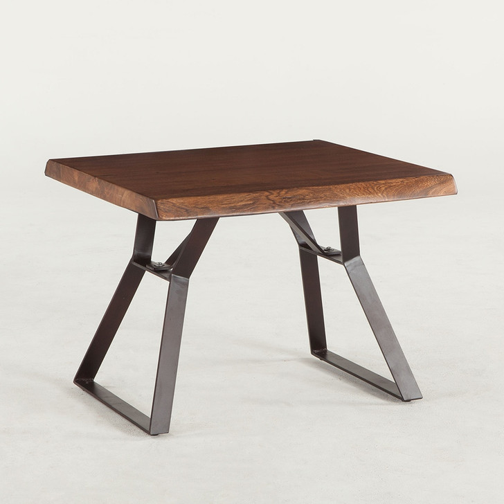 side table with wooden top and steel base