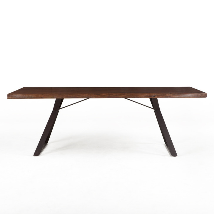 straight view of wooden table and geometric steel base legs