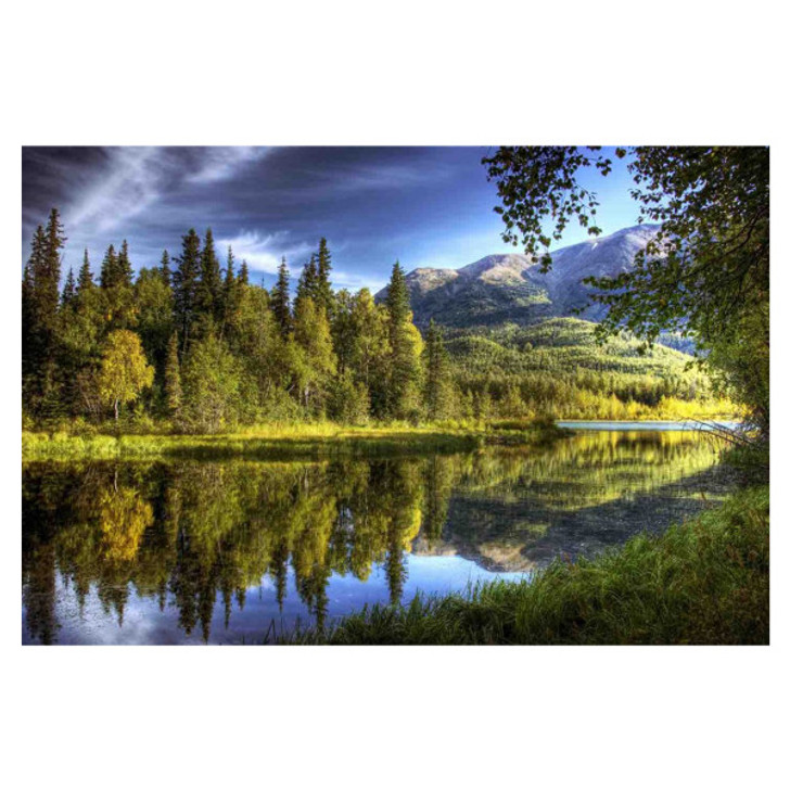 wall art with serene water landscape with trees and mountains