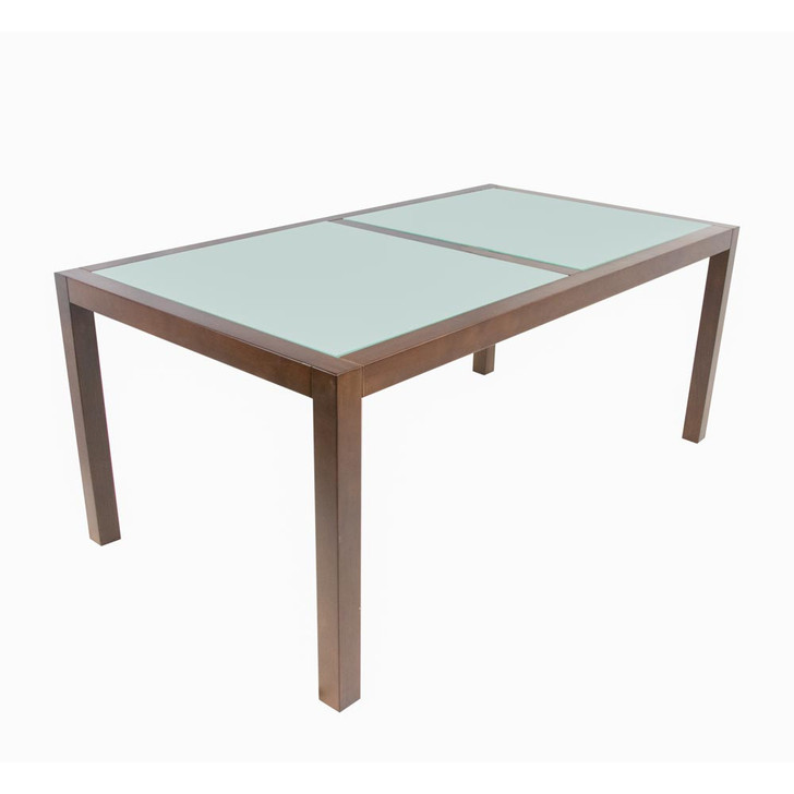 walnut dining table with acid glass insert