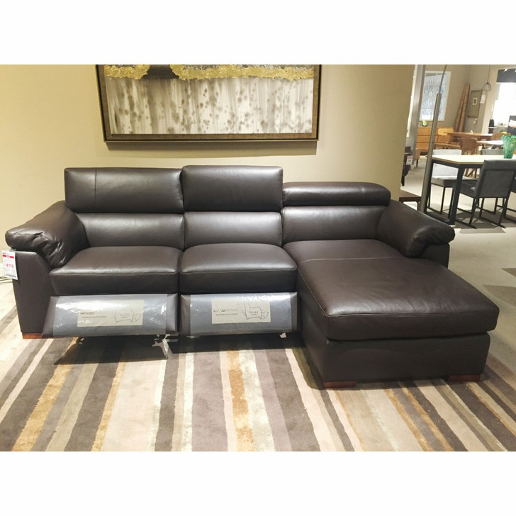 brown leather recliner sofa with chaise