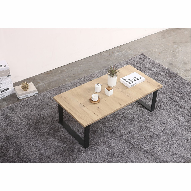 light wood top coffee table with iron legs. The table is styled with a cup and saucer, plants, and books