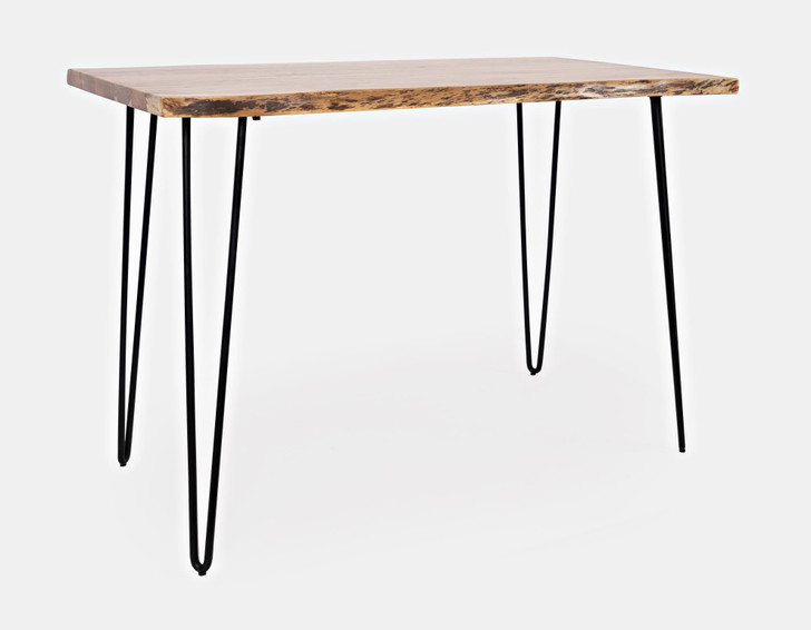 three quarter view of acacia wood top table with metal triangle legs