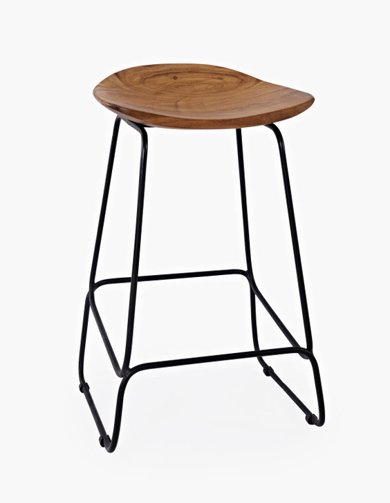 three quarter view of backless wood stool with metal bars and legs