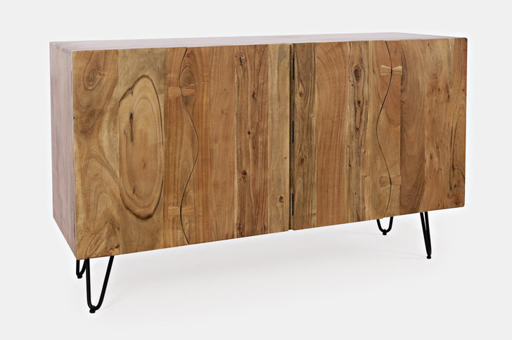 4 door sideboard made out of natural solid acacia wood and metal legs