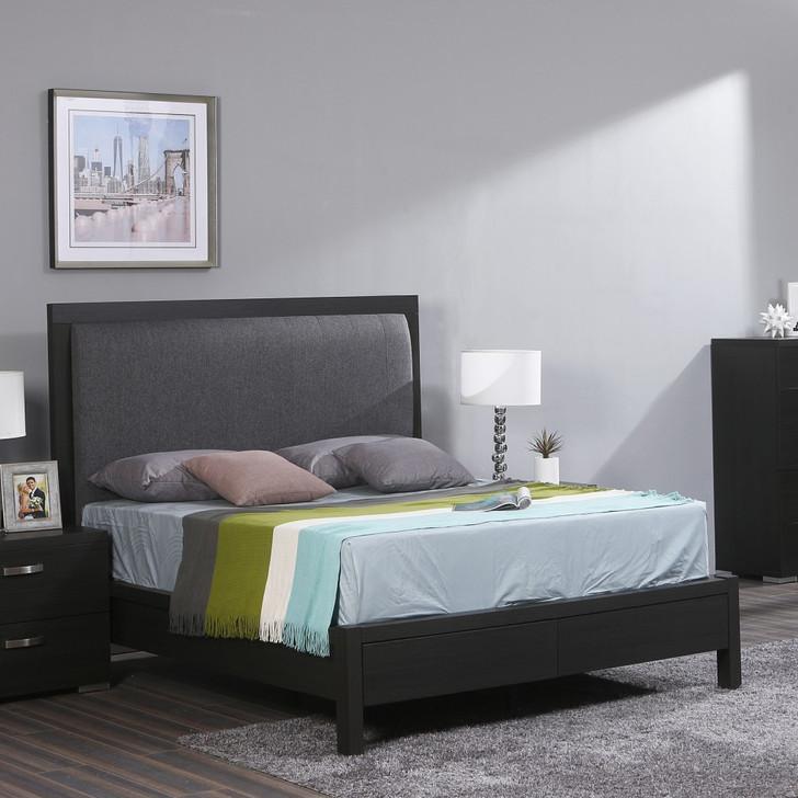 dark wood storage bed with gray fabric padding