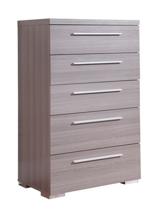 three quarter right facing view of gray melamine high chest with steel handles