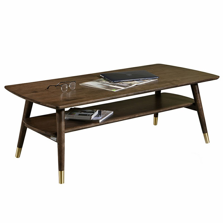 bi-level walnut wood coffee table with gold accents on the legs