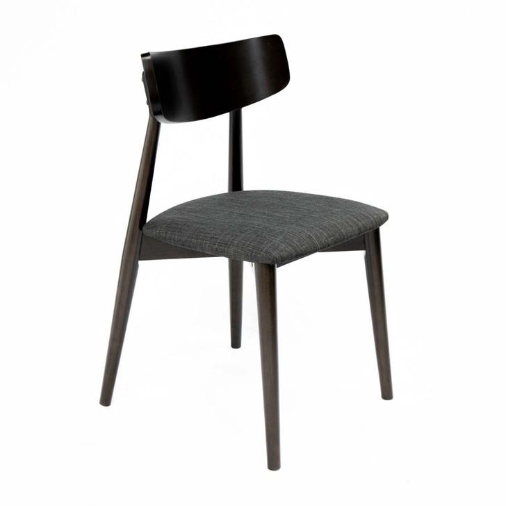 dark wood and dark grey fabric dining chair