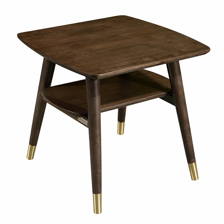 dark wood end table with bi-level design with gold-tone accents on the bottom