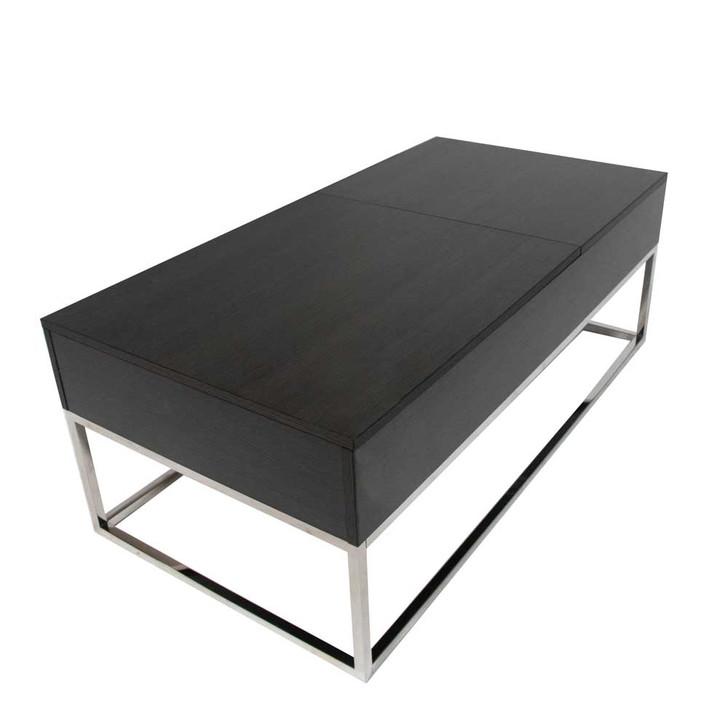 dark wood coffee table with brush stainless steel legs