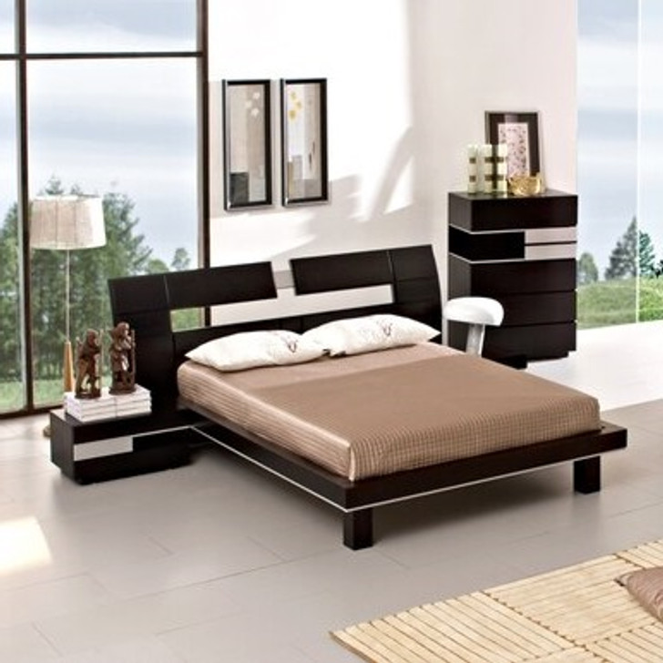 contemporary bed in dark wood with white centerpiece on the headboard