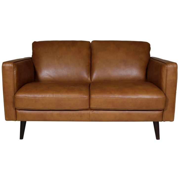 brown leather loveseat with dark colored legs