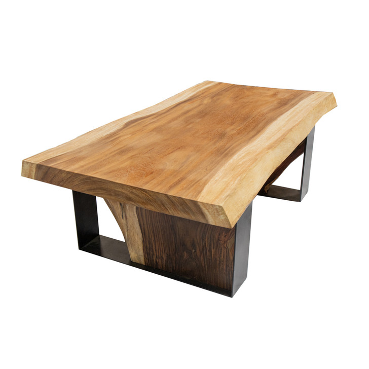 coffee table with solid wood top and metal and wood leg