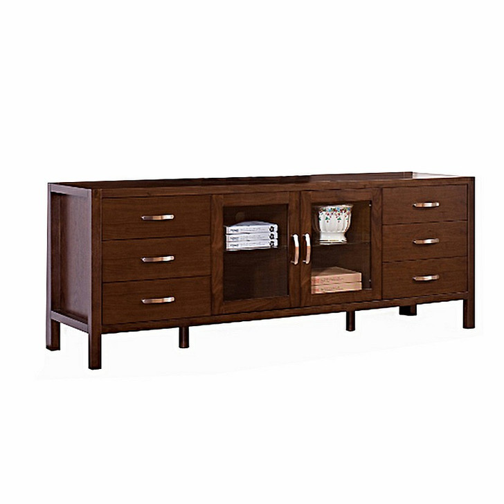 large tv stand with six drawers and a glass door cabinet