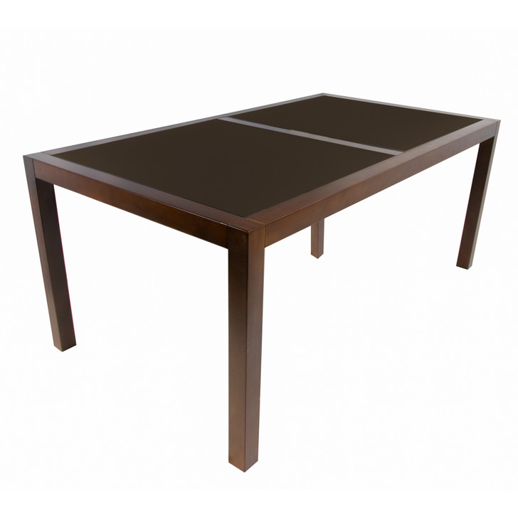 dark walnut wood table with smoked glass insert in the middle