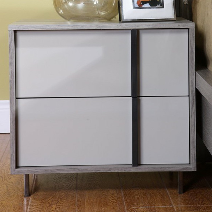 light grey and white melamine with dark off center vertical handle