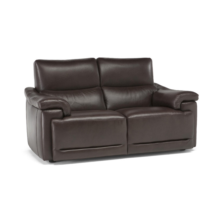 two seater leather sofa covered in leather with reclining mechanisms