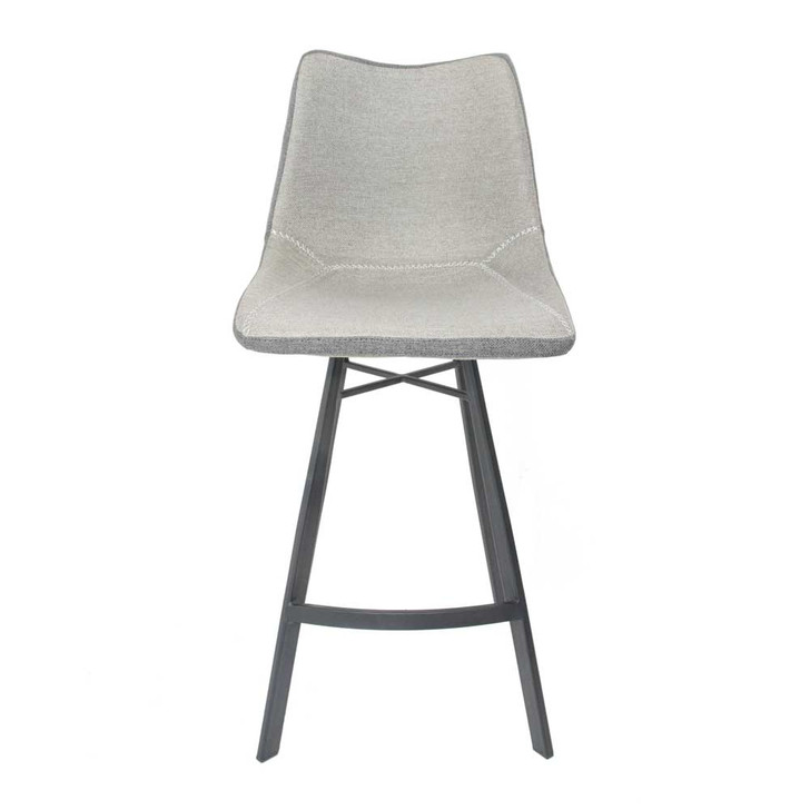 straight view of light grey counter stool with charcoal gray legs
