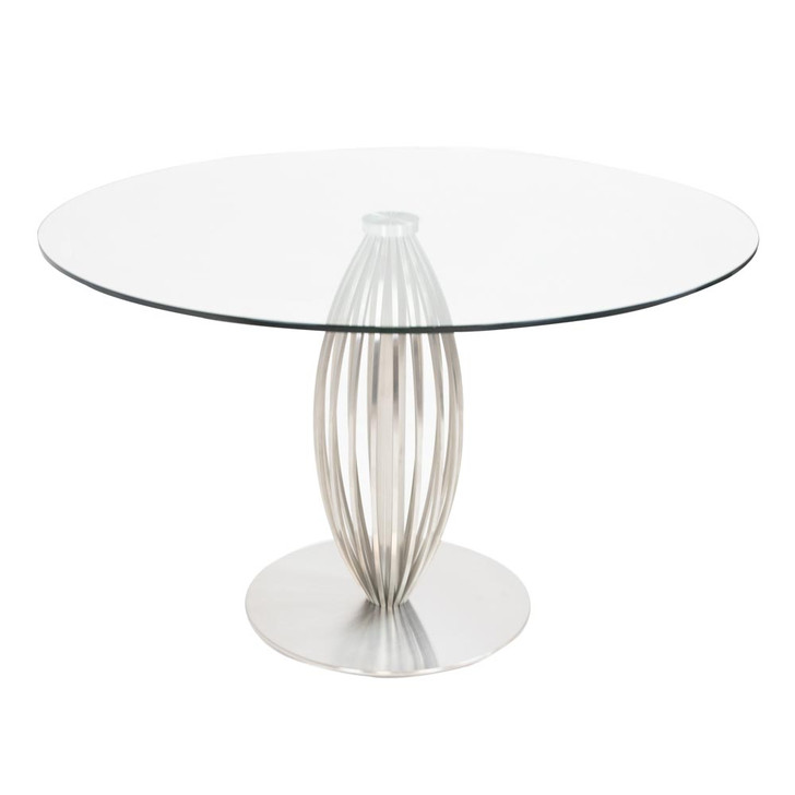 modern sleek dining table made of steel and glass