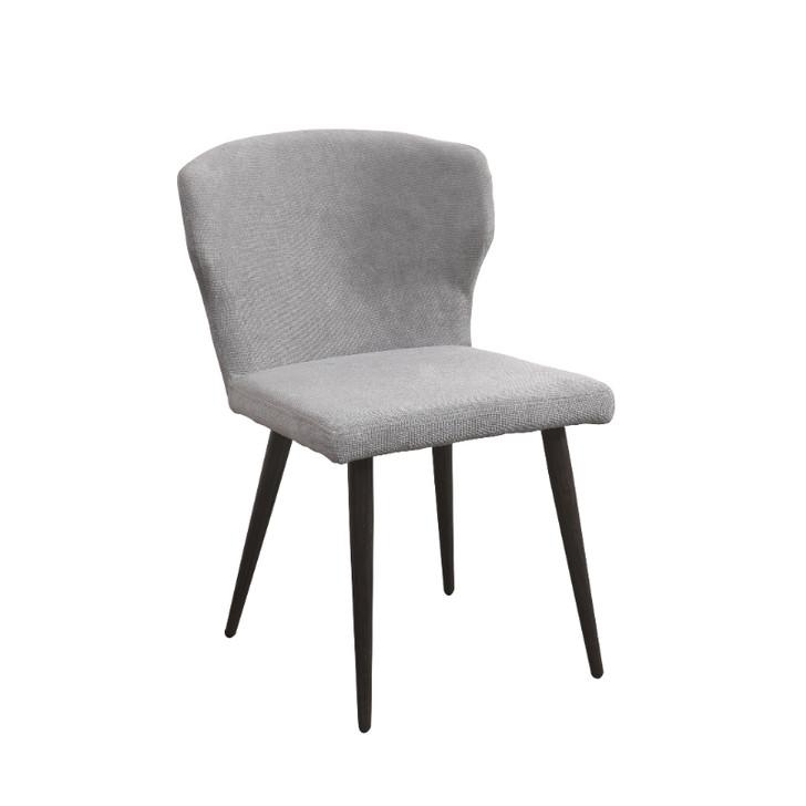 light grey fabric side chair with dark gray metal legs