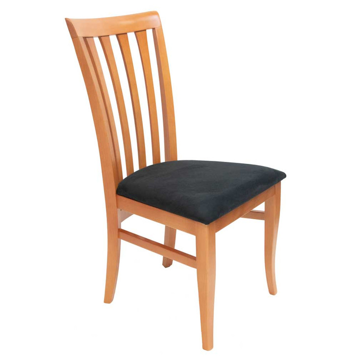 dining chair in cherry finish with dark gray cushion