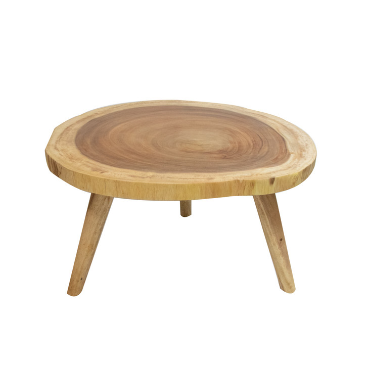 light colored solid wood small round coffee table with three legs