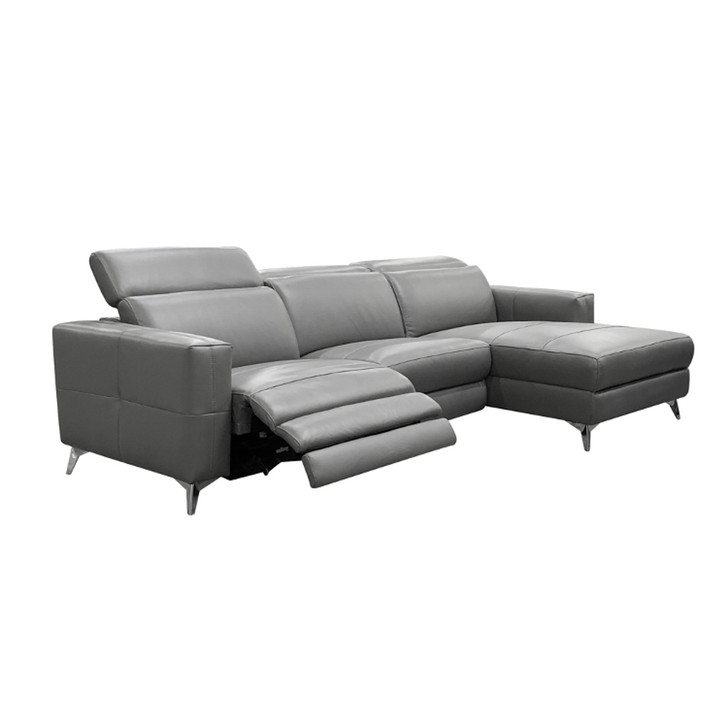 Grey three piece sectional with recliner and a chaise