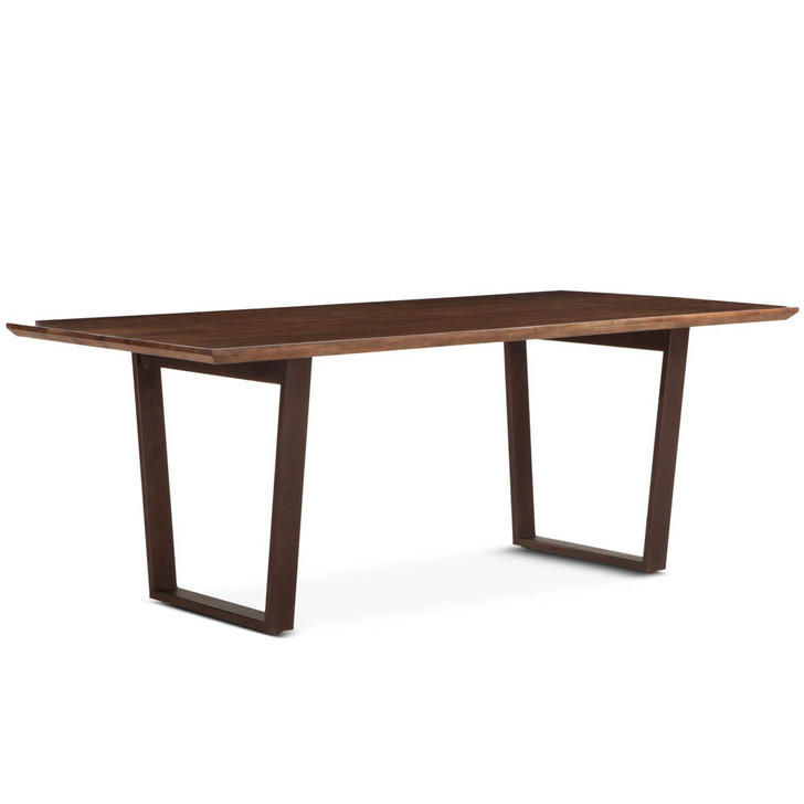 simple dining table with metal base and wood top.