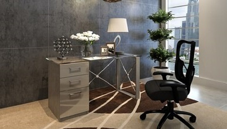 modern desk with glass top and grey finish.