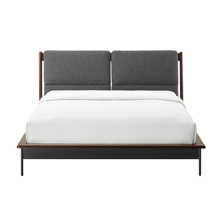 front view of a dark wood bed, with steel legs and a grey fabric headboard