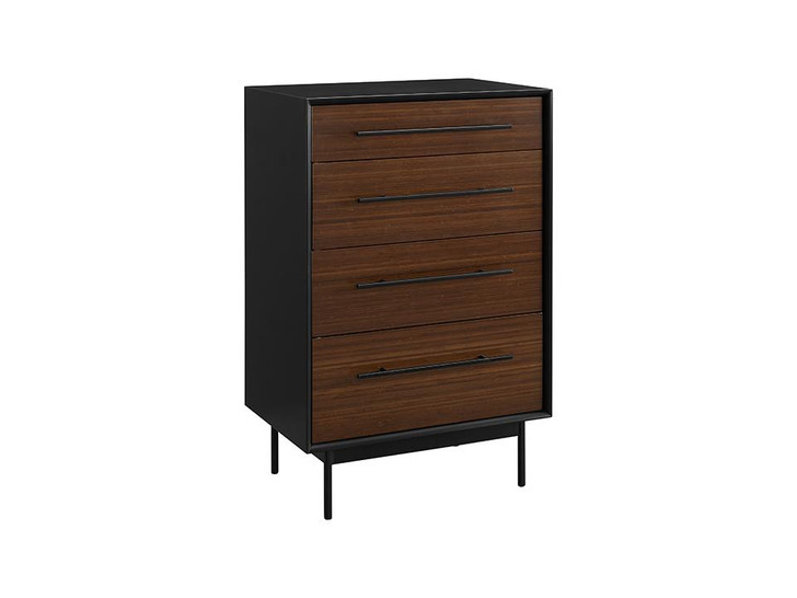three-quarter view of the dresser in a dark wood with dark steel backing, legs and handles.