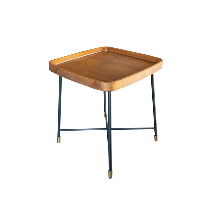 three quarters view of the Maya end table, which features a walnut veneer top and dark metal legs with a gold bottom